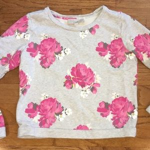 Ann Taylor LOFT gray sweatshirt with pink flowers